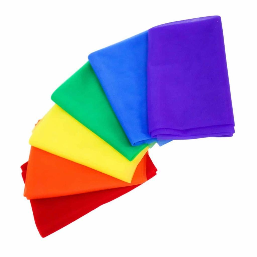 Best Dance Therapy Tools Rainbow Set of Twelve Chiffon Scarves 25 inch Pre K Teachers