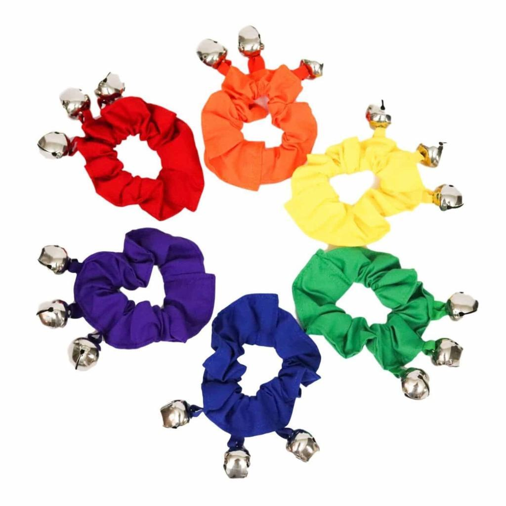 Colorful Rainbow Wrist Scrunchie Jingle Bells on Ribbons Music Together Early Childhood Teachers